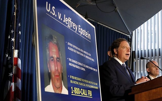 United States Attorney for the Southern District of New York Geoffrey Berman speaks during a news conference in New York, July 8, 2019. (AP Photo/Richard Drew)