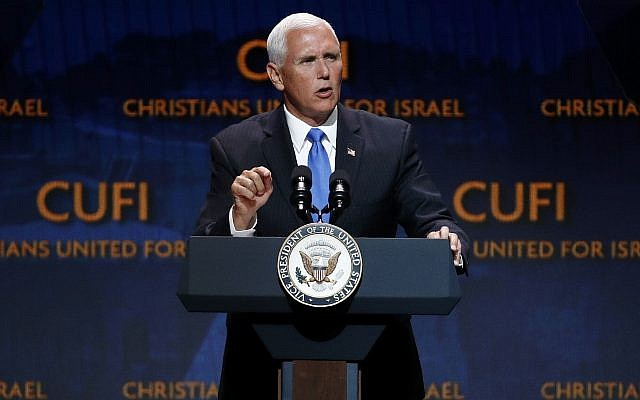 Vice President Mike Pence speaks at the Christians United for Israel's annual summit, July 8, 2019, in Washington. (AP Photo/Patrick Semansky)