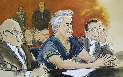 In this courtroom artist's sketch, defendant Jeffrey Epstein, center, sits with attorneys Martin Weinberg, left, and Marc Fernich during his arraignment in New York federal court, July 8, 2019. (Elizabeth Williams via AP)