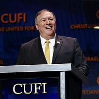 US Secretary of State Mike Pompeo speaks at the Christians United for Israel's annual summit, July 8, 2019, in Washington. (AP Photo/Patrick Semansky)
