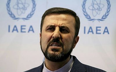 Iran's Ambassador to the International Atomic Energy Agency, IAEA, Gharib Abadi speaks to the media after the IAEA board of governors meeting at the International Center in Vienna, Austria, July 10, 2019. (AP Photo/Ronald Zak)