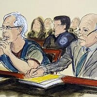 In this courtroom artist's sketch, defendant Jeffrey Epstein, left, and his attorney Martin Weinberg listen during a bail hearing in federal court, July 15, 2019 in New York. (Elizabeth Williams via AP)