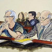 In this courtroom artist's sketch, defendant Jeffrey Epstein, left, and his attorney Martin Weinberg listen during a bail hearing in federal court, in New York, July 15, 2019. (Elizabeth Williams via AP)
