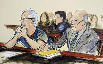 In this courtroom artist's sketch, defendant Jeffrey Epstein, left, and his attorney Martin Weinberg listen during a bail hearing in federal court, in New York July 15, 2019. (Elizabeth Williams via AP)