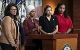 From left, Rep. Rashida Tlaib, Democrat-Michigan, Rep. Ilhan Omar, Democrat-Minnesota., Rep. Alexandria Ocasio-Cortez, Democrat-New York, and Rep. Ayanna Pressley, Democrat-Massachusetts, during a news conference at the Capitol in Washington, July 15, 2019. (J. Scott Applewhite/AP)