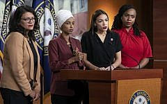 (From left) Democratic representatives Rashida Tlaib of Michigan, Ilhan Omar of Minnesota, Alexandria Ocasio-Cortez of New York and Ayanna Pressley of Massachusetts respond to remarks by US President Donald Trump after his call for the four Democratic congresswomen to go back to their 'broken' countries, during a news conference at the Capitol in Washington, on July 15, 2019. (AP Photo/J. Scott Applewhite)