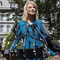 Counselor to US President Donald Trump, Kellyanne Conway, speaks with reporters at the White House, July 16, 2019, in Washington. (AP Photo/Alex Brandon)