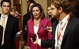 US House Speaker Nancy Pelosi walks to the House Chamber, July 16, 2019, on Capitol Hill in Washington. (AP Photo/Patrick Semansky)