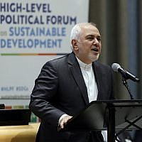 Iran's Foreign Minister Javad Zarif addresses the High Level Political Forum on Sustainable Development, at United Nations headquarters, in New York,  July 17, 2019. (Richard Drew/AP)