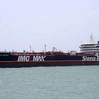 The British-flagged oil tanker Stena Impero which was seized by the Iran's Revolutionary Guard on Friday is photographed in the Iranian port of Bandar Abbas, July 20, 2019 (Tasnim News Agency/via AP)