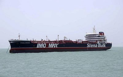 The British-flagged oil tanker Stena Impero which was seized by the Iran's Revolutionary Guard is photographed in the Iranian port of Bandar Abbas, July 20, 2019. (Tasnim News Agency/via AP)