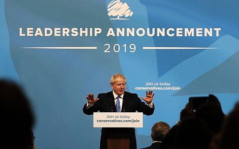 Boris Johnson speaks after being announced as the new leader of the Conservative Party in London, July 23, 2019 (AP Photo/Frank Augstein)