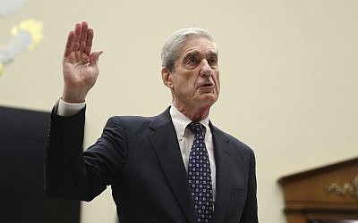 Former special counsel Robert Mueller, is sworn in before he testifies before the House Judiciary Committee hearing on his report on Russian election interference, on Capitol Hill, in Washington, July 24, 2019. (AP Photo/Andrew Harnik)