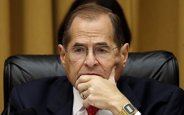 House Judiciary Committee Chairman Jerrold Nadler listens as former special counsel Robert Mueller testifies before the House Judiciary Committee hearing on his report on Russian election interference, on Capitol Hill, July 24, 2019, in Washington. (AP Photo/Alex Brandon)