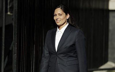 Conservative lawmaker Priti Patel arrives at 10 Downing Street, London, July 24, 2019 (AP Photo/Matt Dunham)