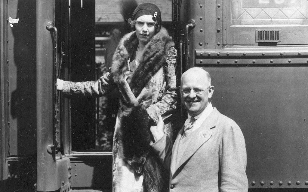 P.G. Wodehouse, English humorist and short story writer, arriving with his daughter Lenora in Los Angeles, California, where he planned to work as a Hollywood screenwriter, May 8, 1930. (AP Photo)