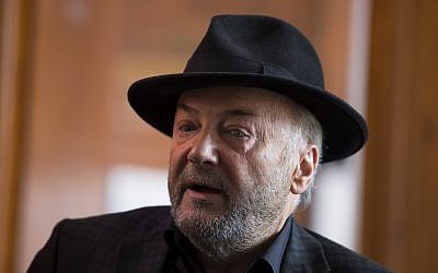 George Galloway speaks during an interview at his offices in Bradford, England, April 22, 2015. (AP Photo/Jon Super)