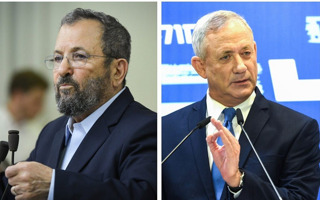 Compilation: Ehud Barak, left, and Blue White leader Benny Gantz (Flash90)