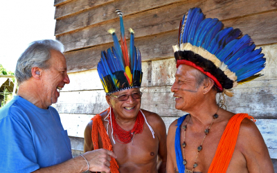 Ethnobotanist Mark Plotkin speaking recently with indigenous leaders of the Tumucumaque region in northern Brazil. (Courtesy)