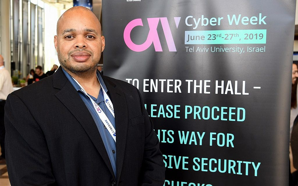 Raysyn Roach-Vaden. assistant legal attache for cybersecurity at the FBI in Tel Aviv, working within the US Embassy, at Cyber Week, June  2019 (David Azagury/U.S. Embassy Jerusalem)