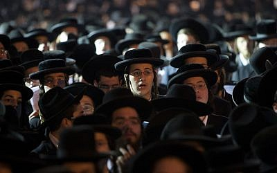 Illustrative: Thousands of haredim holding a prayer rally in Jerusalem's Shabbat Square in opposition of the government's plan to start drafting yeshiva students into military and national service on June 25, 2012. (Yonatan Sindel/Flash90)