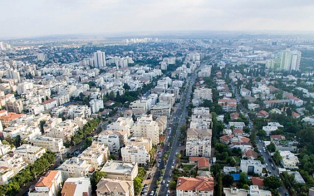 An aerial view of the city of Rehovot, on June 30, 2017. (Gidi Avinary/Flash90)