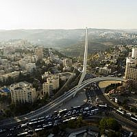 An aerial view of the Chords Bridge at the entrance to the city of Jerusalem. July 10, 2017. (Gidi Avinary/FLASH90)