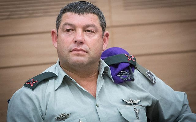 Brig. Gen. Ofer Winter attends a Foreign Affairs and Defense Committee meeting at the Knesset, on October 22, 2018. (Miriam Alster/Flash90)