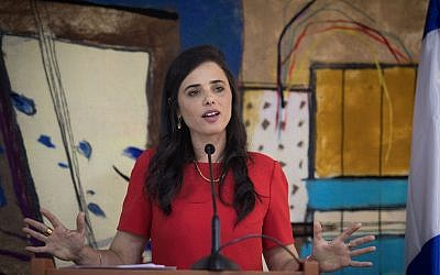 Justice Minister Ayelet Shaked speaks during her farewell ceremony, at the Ministry of Justice offices in Jerusalem on June 4, 2019 (Hadas Parush/Flash90)