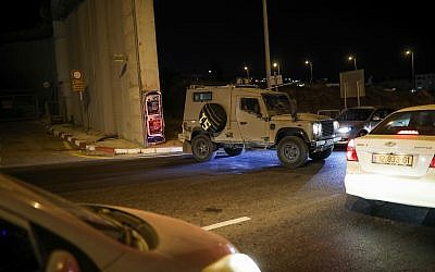 Cars standing in a traffic jam at the Hizme Checkpoint, near the scene of a suspected ramming attack near Jerusalem on July 7, 2019. (Hadas Parush/Flash90)