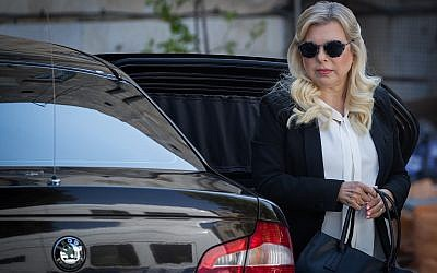 Sara Netanyahu arrives at the Jerusalem Magistrate's Court on June 16, 2019 (Yonatan Sindel/Flash90)