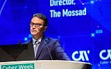 Head of the Mossad Yossi Cohen speaks at a cyber conference at Tel Aviv University on June 24, 2019. (Flash90)
