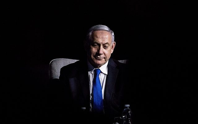 Prime Minister Benjamin Netanyahu speaks at a conference hosted by the Israel Hayom newspaper in Jerusalem's Old City on June 27, 2019. (Aharon Krohn/Flash90)
