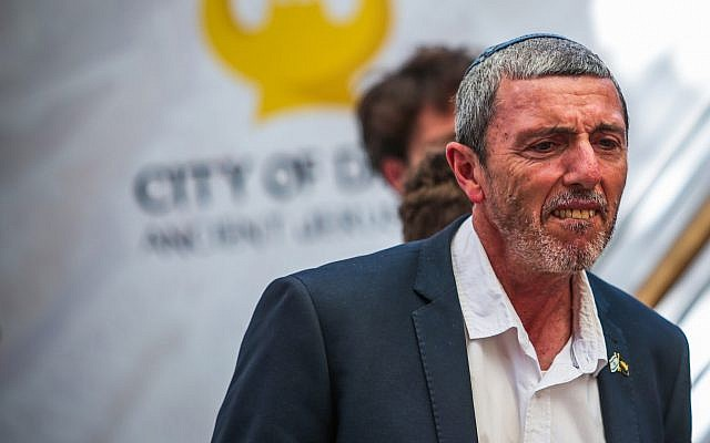 Education Minister Rafi Peretz attends the opening of an ancient road at the City of David archaeological site in the East Jerusalem neighborhood of Silwan, June 30, 2019. (Flash90)