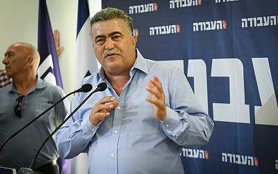 MK Amir Peretz, newly elected leader of the Labor party speaks during a press conference in Tel Aviv, July 3, 2019. (Flash90)