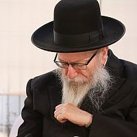 Then-Deputy Health Minister Yaakov Litzman at the ceremony for the opening of a new branch of his Agudath Israel party, ahead of upcoming elections, in the northern city of Safed, July 4, 2019. (David Cohen/Flash90)
