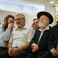 From left to right: Otzma Yehudit members Baruch Marzel, Michael Ben Ari, Rabbi Dov Lior and Itamar Ben Gvir at the extremist party's campaign launch in Jerusalem on July 4, 2019. (Yonatan Sindel/Flash90)