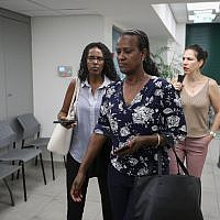 Ora Tasmah and representatives for Solomon Tekah's family arrive at Police Internal Investigation Department in Jerusalem, on July 8, 2019. (Yonatan Sindel/Flash90)
