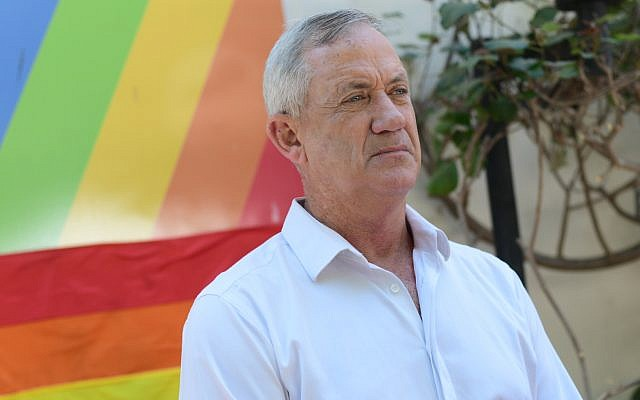 Blue and White chairman Benny Gantz speaks at a press conference at the Tel Aviv LGBT center on July 14, 2019. (Tomer Neuberg/Flash90)