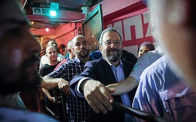 Ehud Barak, head of the Israel Democratic Party speaks during an election campaign event in Tel Aviv on July 17, 2019. (Hadas Parush\Flash90)