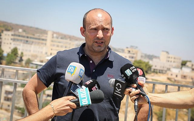 New Right No. 2 Naftali Bennett speaks during a press conference in Efrat, in the West Bank, July 22, 2019. (Gershon Elinson/Flash90)