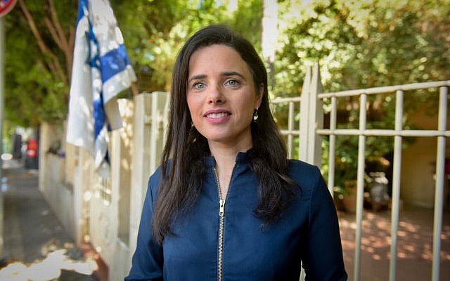Ayelet Shaked, former justice minister and head of the New Right party, speaks during a press conference outside her home in Tel Aviv on July 25, 2019. (Avshalom Shoshoni/Flash90)