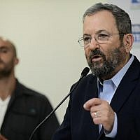Former prime minister Ehud Barak speaks during a press conference in Tel Aviv announcing the formation of Democratic Camp electoral alliance on July 25, 2019. (Tomer Neuberg/Flash90)