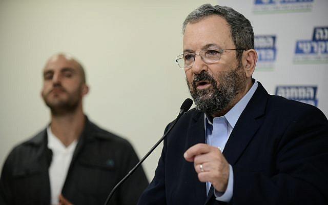 Former prime minister Ehud Barak speaks during a press conference in Tel Aviv announcing the formation of Democratic Camp electoral alliance on July 25, 2019. (Tomer Neuberg/Flash90)