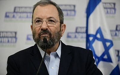 Ehud Barak during a press conference in Tel Aviv announcing their newly formed Democratic Camp party, July 25, 2019. (Tomer Neuberg/Flash90)