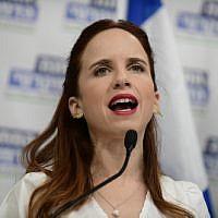 Stav Shaffir speaks during a press conference announcing the Democratic Camp in Tel Aviv on July 25, 2019. (Tomer Neuberg/Flash90)