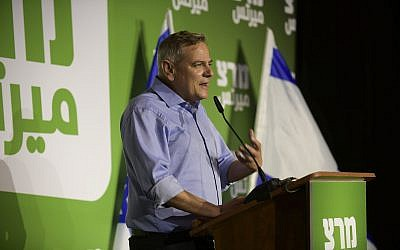 Nitzan Horowitz, leader of Meretz party and of the Democratic Camp, speaks at an election campaign event in Tel Aviv on July 28, 2019. (Gili Yaari / Flash90)