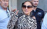 US singer Jennifer Lopez arrives at Ben Gurion Airport, ahead of her concert in Tel Aviv, July 30, 2019. (Flash90)