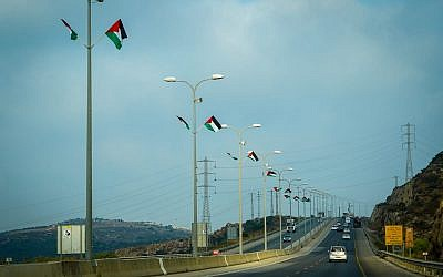 Right-wing activists hang Palestinian flags along a West Bank highway on July 7, 2019 (Courtesy of Regavim)