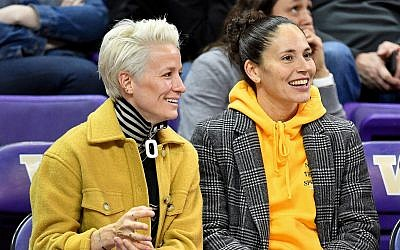 Megan Rapinoe, left, and Sue Bird have been dating since 2016. (Alika Jenner/Getty Images via JTA)